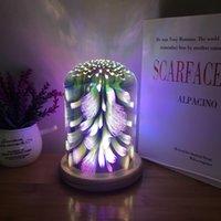 Yeni Yangın Ağacı Gümüş Çiçek 3D Renkli Cam Masa Lambası, Ahşap Yaratıcı Başucu Gece Lambası, Yıldızlı Gökyüzü Dekorasyon Masa Lambası