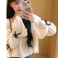 Women's Hoodies & Sweatshirts White chiffon blouse elegant women's clothes sweet casual top loose designer long-sleeve bow 4K68