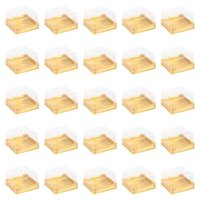 50 stücke 100g Square Mond Kuchen Boxen Ei-yolk Puff Container Goldene Verpackungsbox Small Plastik Mooncake Geschenk Wrap