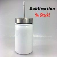 DIY Сублимация 17 унций белая банка из нержавеющей стали с двойным стенным кровавым чашкам 500 мл Изолированная вакуумная водяная бутылка для воды с соломинки LCS6
