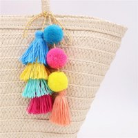 Keychains Bohemian Style Color Wool Ball Tassel Ornaments Bag Pendant Decoration Car Key Ring Jewelry Creative Keychain Holiday Gift