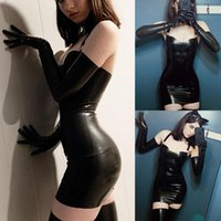 Casual Dresses Women's Dress Gothic Leather Girl Tube Strap Tight Suit Terno Vestido Apertado Com Saia Tubo De Couro Feminino 2021