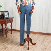 Men's Suits & Blazers Blue Fashion Vintage Thick Western-style Slim Suit Pants Mens Long Trousers For Wedding Dress Man Pant CBKZ032