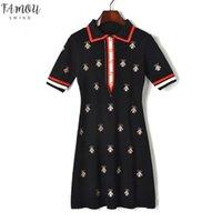 Vestidos de designer de moda mulheres contraste desligam abelhas de colarinho de malha botão de manga curta de manga curta vestido de bordado