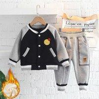 Baby Plus Fleece Tareas de otoño e invierno Modelos de invierno 0-3 años Bebé delgado Fleece One Fleece Cálido Top y Pantalones Traje de dos piezas H1023