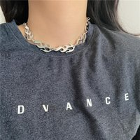 Chains European Personality Design Flame Necklace Hip-hop Fashion Splicing Chain For Men And Women Short Clavicle Neck
