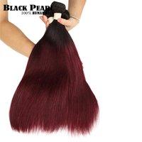 Human Hair Bulks Black Pearl Ombre Brazilian Straight T1B 99J Two Tone Bundles 1 3 4 Non Remy
