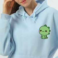 Cute Japanese Funny Dinosaur Women Sweatshirts Printed All Match Retro Hooded Pockets Loose Cotton Pullovers