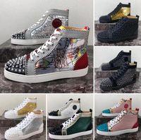2021 zapatos de fondos rojos para hombre para mujer Tamaño de las mujeres 5-13 Plataforma de diseño plana zapato casual moda lujos lujurios entrenadores zapatillas de deporte con caja