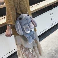 أفخم الحيوان الخلفي حزمة حقيبة الأرنب الميت 2021 جديد لطيف ريكس أرنب الفراء حقيبة الظهر المرأة الكورية حقيبة صغيرة C0505