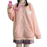 Women's Jackets Moletom harajuku com orelhas de coelho, blusa feminina fofa bolso, outono, lã, gran, zíper, rosa, roupa senhos animados RX5D