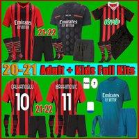 Hombres + Kits Kit 22 22 AC Milan Ibrahimovic Soccer Jersey Hmoe Away 2021 Rebic Romagnoli Çalhanog Lu Paqueta Camiseta de Futbol Football Shirt