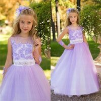 Girl's Dresses Without Glove Purple Kids Princess Beading Sash Flower Girl Dress For Wedding Party Vestido Baby First Comunion Celebrity