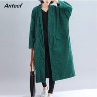 Anteef mais tamanho sólido vintage ponto aberto mulheres solta solta longo outono inverno feminino trench casaco roupas 210513