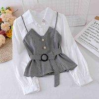 Весенняя осенняя женская рубашка корейская полосатая подтяжка сплошной цветной блузки с длинными рукавами Новые поддельные две части Tops LL830 201202