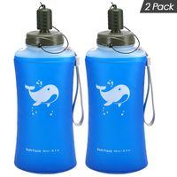 Garrafa de água 2 Pacote de esporte reutilizável viagem portátil de hidratação macia 750ml ultraleve camping ao ar livre caminhadas TPU ampla abertura