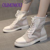 Boots Women Square Toe Short Ankle Black White Mesh Ladies Booties Fashion Design Women's Woman Summer Q834