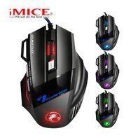 마우스 IMICE 전문 유선 조용한 게임 마우스 7 버튼 2400 DPI LED 광학 USB 컴퓨터 게이머 X7 게임