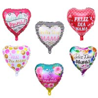 18inch 5PCS Spanish Mothers Day Feliz Dia Mama I Love You Mom Heart Shape Foil Balloons Happy Mothers Day Decorations Gift
