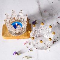 Creative Arts e Artigianato Gold Berco di personalità Trend Handmade Mini Collana Box Corona Vetro Portacandele Decorazione Decorazione Spoluga Spoletta