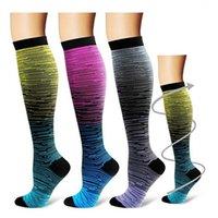 Unisex Leg Support Stretch Compression Calcetines Rodilla alto / degradado largo Calcetines al aire libre Sport Calcetines 2 Tamaño 735 Z2