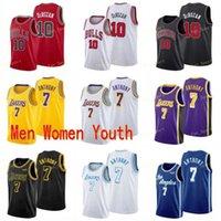 Città guadagnata edizione Carmelo 7 Anthony Basket Balist Jersey Russell 0 Westbrook Demon 10 Derozan Men Donne Gioventù Yellow White Purple Red Black