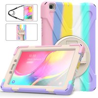 For Samsung Galaxy Tab A 8.0 Shockproof Cover T290 T295 Silicone Case with Shoulder Strap and Kickstand