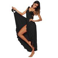 Kleid sundress ws7728v maxi kleid 2018 frauen sommer abdeckung ups ärmellos split sexy spaghetti strand strand sexy rüschen lange