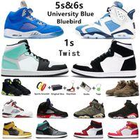 Air Jordan Jumpman 1s travis Scott x fragmento Tênis de basquete masculino Military Blue Khaki 6s Raging Bull 5s University Royal 1 UNC 5 6 masculino feminino tênis esportivos