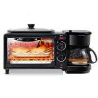 Breakfast Station 3 in 1 Break-fast Machine Multifunction Oven 4-Cup Coffee Maker Griddle Toaster Non-Stick Grill for Afternoon Tea Supper