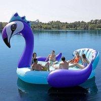 ستة أشخاص عملاق الأزرق الطاووس الوردي فلامنغو الأبيض يونيكورن نفخ قارب حمام سباحة تعويم السباحة الدائري عطلة حزب المياه لعبة