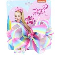 Novo estilo Jojo Siwa Girls Girls Clipes de Cabelo Rainbow Jojo Siwa Bows Grampos de Cabelo de Designer Crianças Barrettes Bebê BB clipe Kids Hair Acessórios 1061 v2