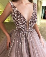 2021 Pink Ball Gown Quinceanera Dresses Beaded Crystals Deep V Neck Puffy Sweet 15 Prom Gowns Vestidos de Evening Dress vestidos de quinceañera
