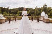 Satin Long Sleeves Wedding Dress Elegant Romantic A-line Bridal Dresses Bohemian Simple Gowns