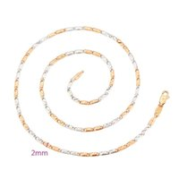 Chains MxGxFam ( 46CM X 2mm ) Rose Mix White Gold Plated Square Small Chain Necklaces For Women Men
