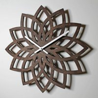 Wall Clocks Modern Wooden Clock Fashion Creative Watch Mechanism Pow Flower Guess Women Quartz Relogio Parede Mute 50ZB041