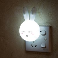 LED Cartoon Rabbit Night Lamp Switch ON OFF Wall Light AC110-220V EU US Plug Bedside Lamps For Children Kids Baby Gifts White