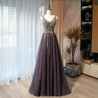 2021 Evening Dresses Latest Shining Beading Sequins Pleats Tulle Prom Gowns