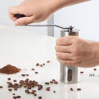 Silber Kaffeemühle Mini Edelstahl Hand Handbuch Handgemachte Kaffeebohne Grat Mühlen Mühle Küchentool Krokus Mühlen GWE10379
