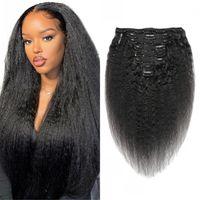 Clipe reto Kinky em extensões de cabelo humano 120g clipes de yaki grosseiros brasileiros em 1B 8 pcs / set wefts 8-22 polegadas