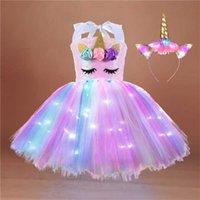 Светодиодные единорогие девушка летнее платье мода светодиодный детский хеллоуин принцесса радужные платья + мональные костюмы для вечеринок без рукавов детская одежда G89AV5Z