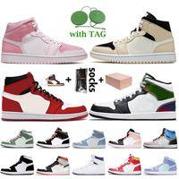 Nike Air Jordan Retro 1 1s Off White Travis Scott 1 2020 중순 시카고 블랙 발가락 메탈릭 골드 Jumpman 1 초 높은 OG 바이오 해킹 남성 농구 신발 새틴요르단레트로 여성 스니커즈