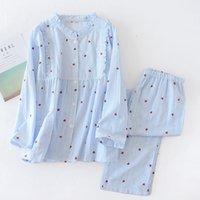 새로운 100 % 코튼 거즈 수직 줄무늬 출산 착용 긴 소매 잠옷 세트 라운드 넥 Lactation 의류 모유 수유 슈트