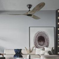 Ceiling Fans 52 Inch Grey Vintage Fan Wood Without Light Nordic Wooden With Remote Control DC Ventilador De Techo