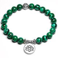 Beaded, Strands Handmade Bracelet Malachite Bracelets Women Men Antique Silver Om Buddhist Lotus Charm Lucky Meditation Yoga Jewelry