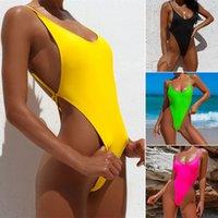 2021 New Ladies One Pieza Traje de baño Color Sólido Sexy Bikini Bikini Bikini Tangas Mujer Stoj Kapielowy Dzielecko