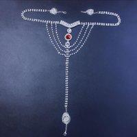 Seksi Vücut Zinciri Lingerie Kırmızı Kristal Tanga Külot Takı Kadınlar Için Gümüş Renk Rhinestone Göbek Bel Zincir Vücut Takı Hediye