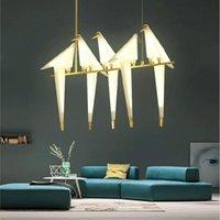 Lampade a sospensione Nordic Light Gold Gold Bird Cage Soggiorno Camera da Letto Origami Cucina Appeso Lampada da pranzo Pranzo Casa di carta Luci