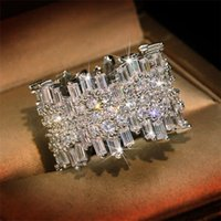 Sparkling Luxury Jewelry Top Sell 925 Sterling Silver Full Princess Cut White Topaz CZ Diamond Gemstones Party Women Wedding Band Ring Gift