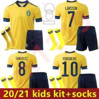 Детский комплект Швеция Джерси 2021 Национальные футбольные трикотажные изделия Главная Ибрагимович Forsberg Kallstrom 20 21 футбол для ребенка